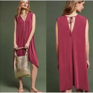 Anthropologie Eri + Ali pink tunic midi dress